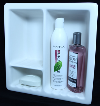 3 compartment recessed shampoo soap niche