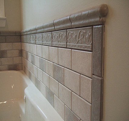 Bathroom tiled tub wall full