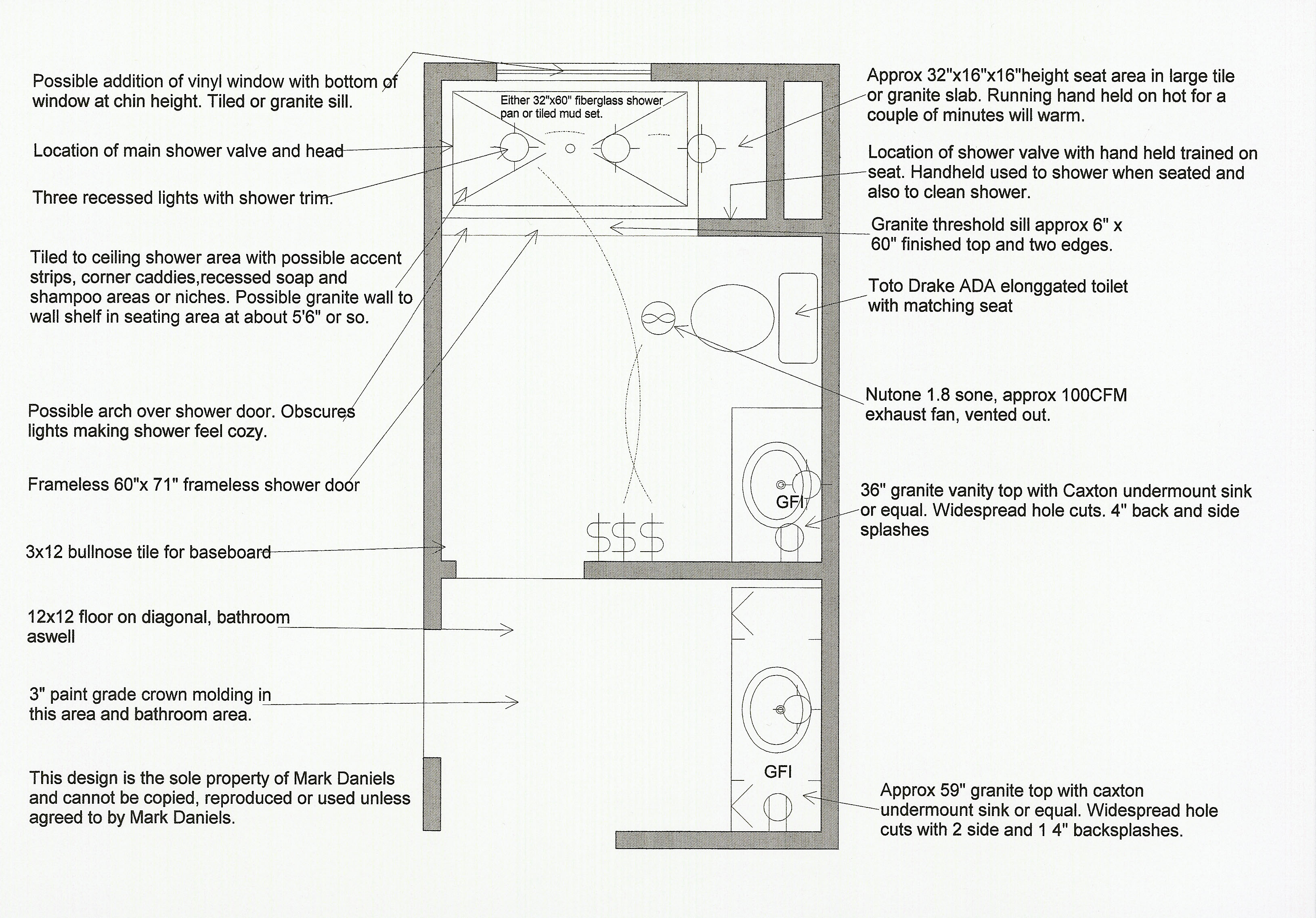 master bath layout large - Bathroom Remodel Layout