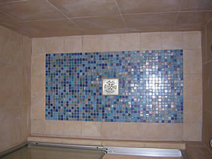 glass tile shower pan