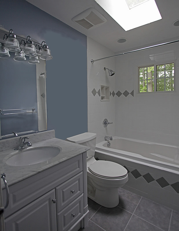 gloss white shower tile recessed shampoo soap bathroom before picture - Bathroom Designs Tiles