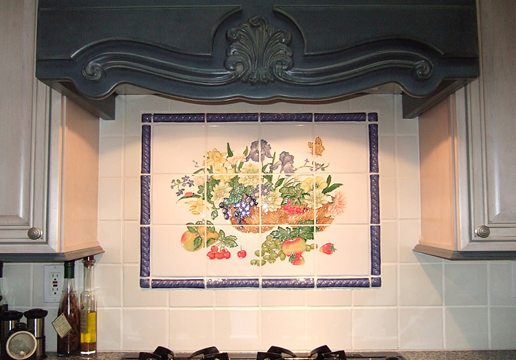 Pics photos tile mural kitchen backsplash kitchen for Backsplash tile mural