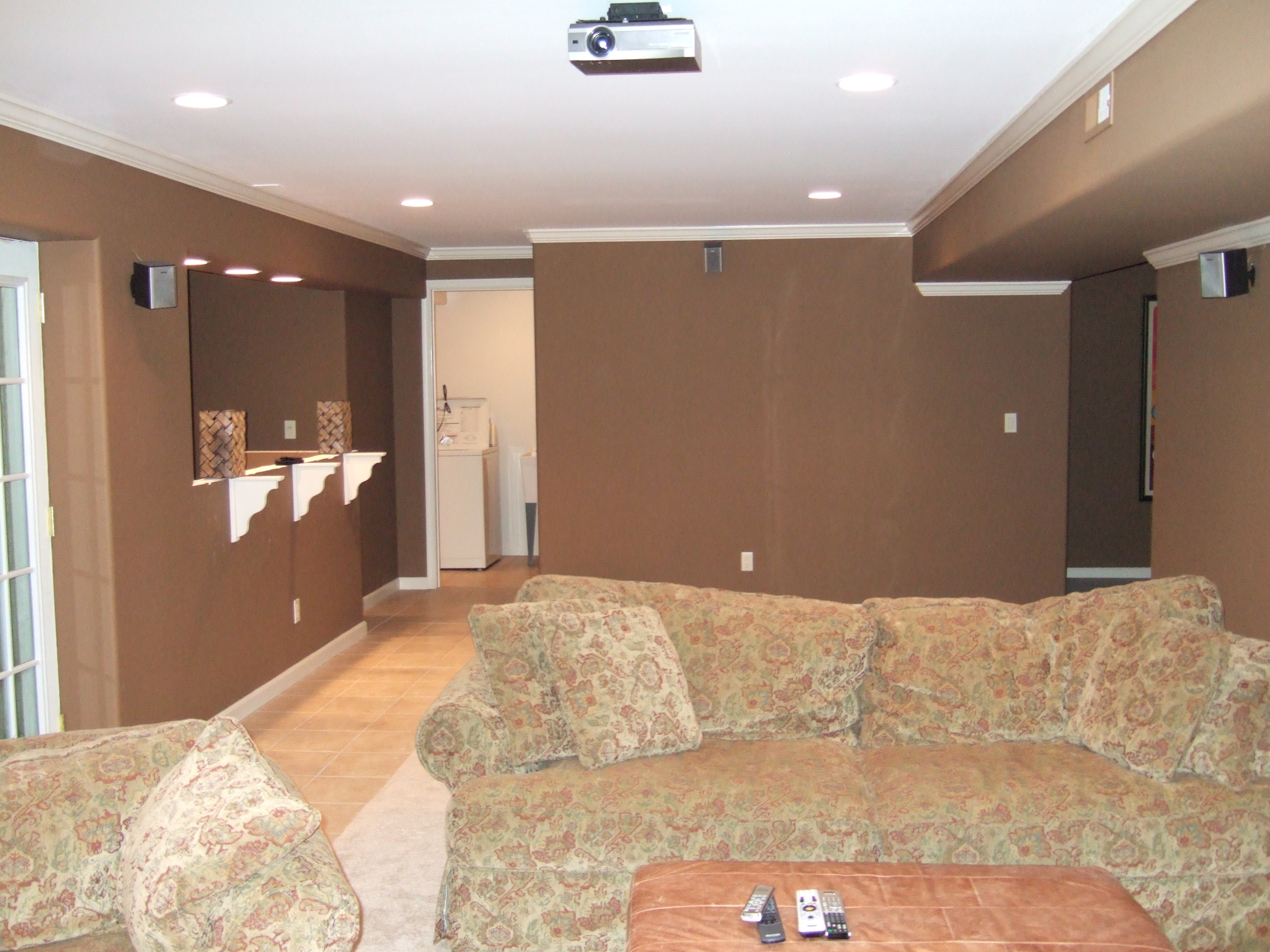 Basement Granite Bar Area Basement Projection TV