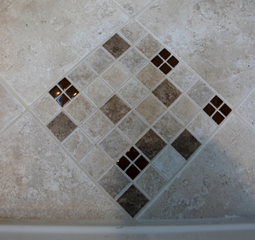 bathroom floor tile accents