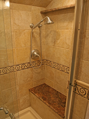 Small bathroom remodeling fairfax burke manassas remodel for Cabin shower tile ideas
