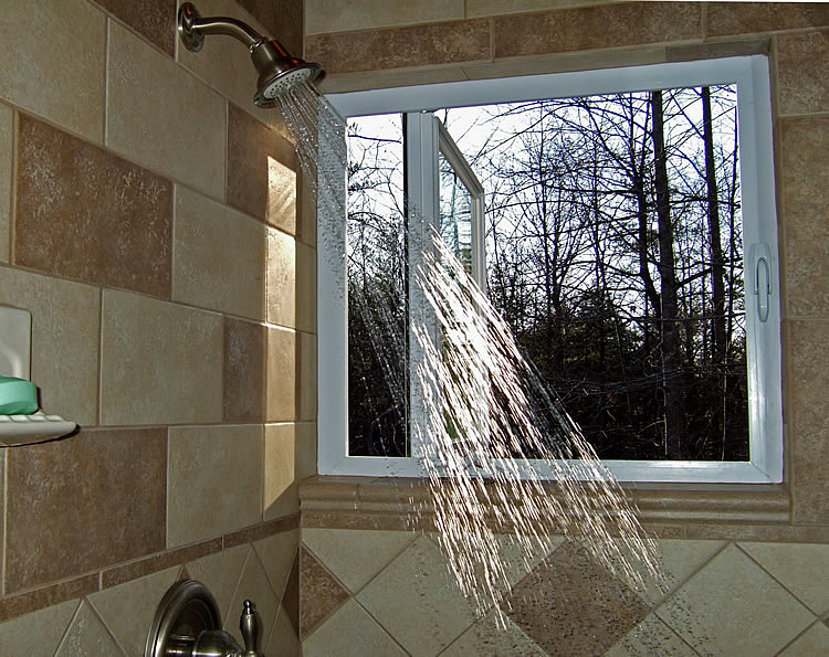 bathroom tile window