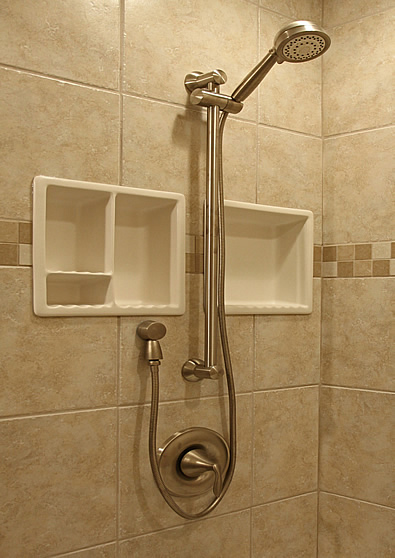 ... Shower Niche Recessed Tile Ceramic Porcelain Corner Caddy Remodeling
