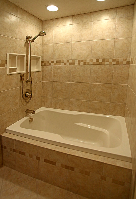 bathroom tub shower tile accent idea