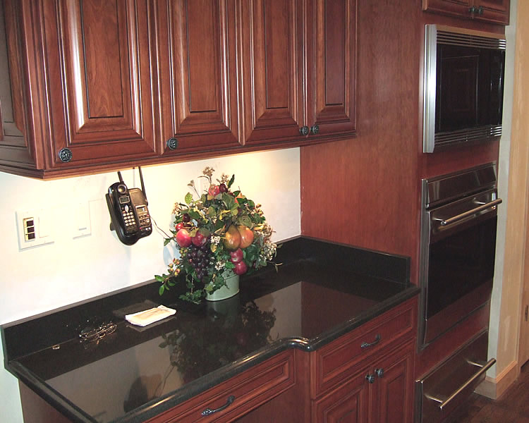 Kitchen Ceramic Floor Ideas With Granite Island And Cherry Cabinets Copper Backsplash Html on