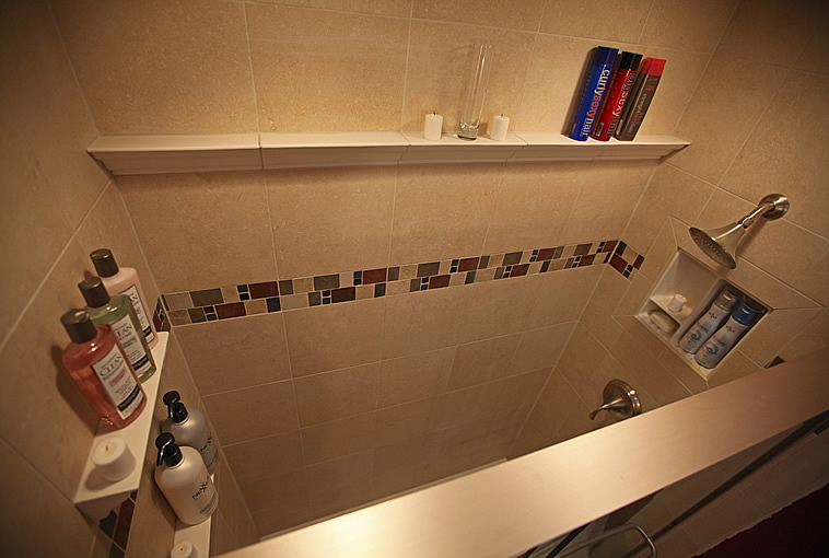 Ceramic Crown Molding and Shampoo Shelves. Bathroom Remodeling Fairfax Burke Manassas Va Pictures Design Tile