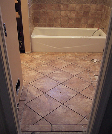 New bathroom tile question of staggered for floor wall - Bathroom floor tiles design ...
