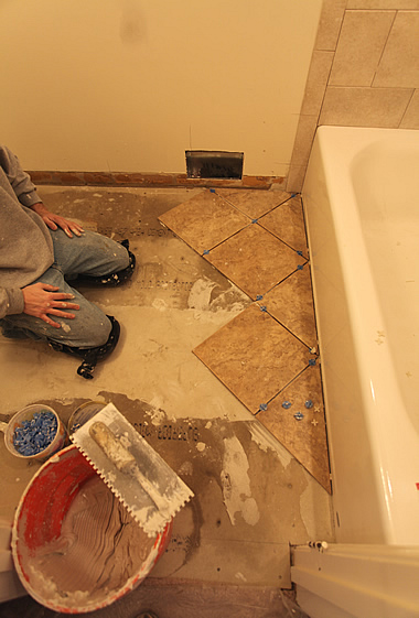 diagonal floor tile diy