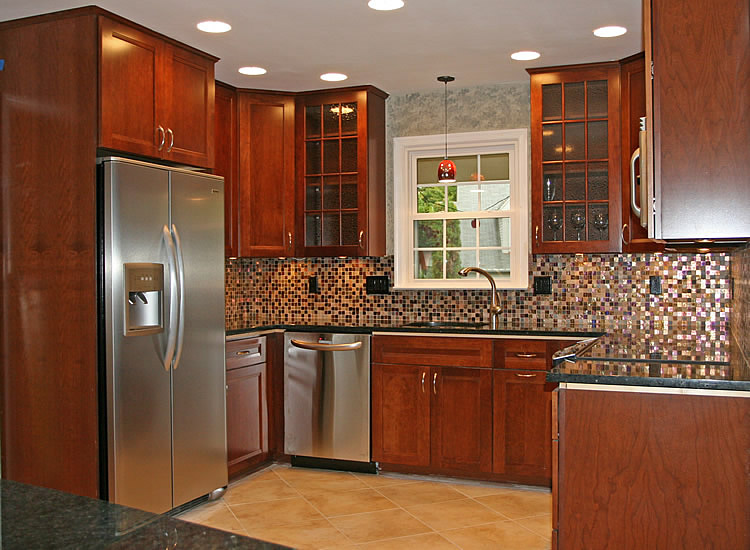 tile backsplash ideas for cherry wood cabinets home design and decor