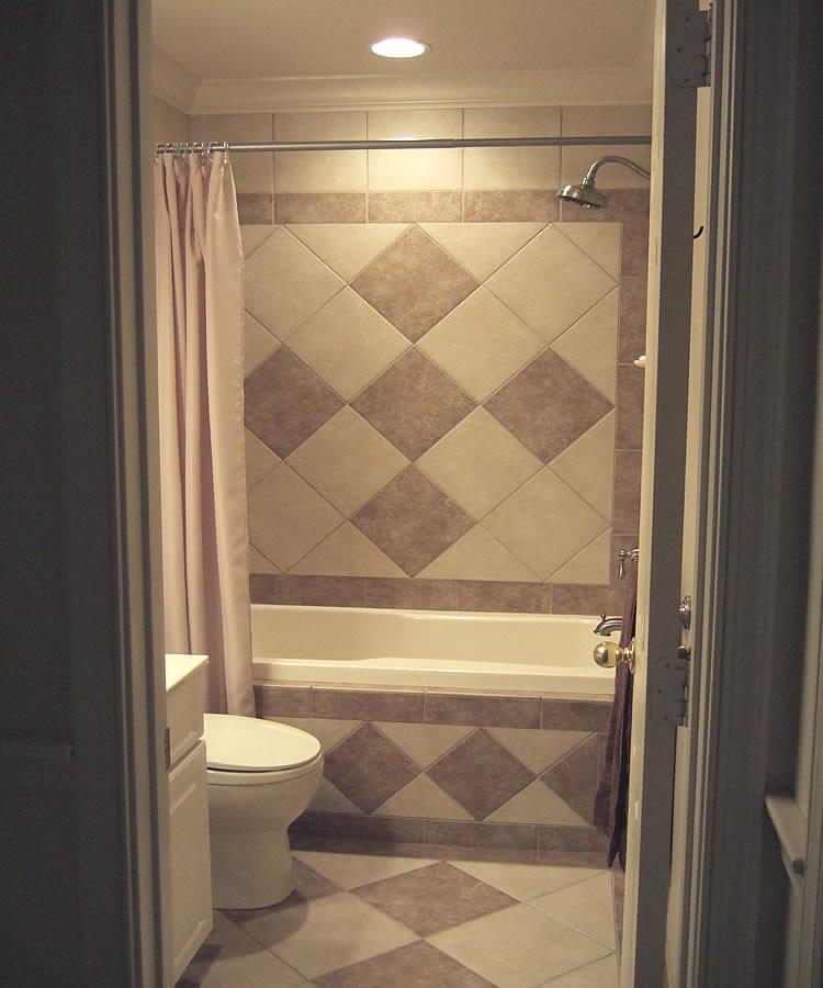 Main Bath Tiled Skirt Image. Shower Wall ...