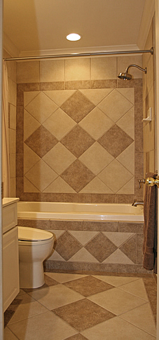 shower diagonal tiled border