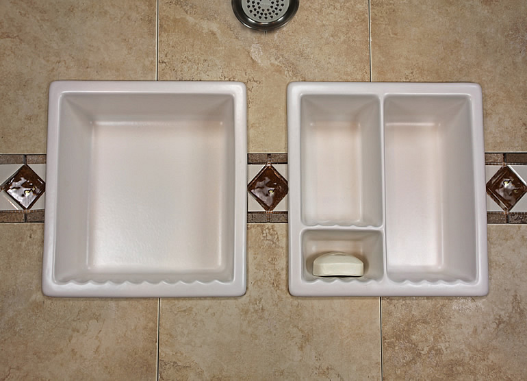 Bathroom Shampoo Soap Shelf Dish Shower Niche Recessed Tile Ceramic Porcelain Corner Caddy ...
