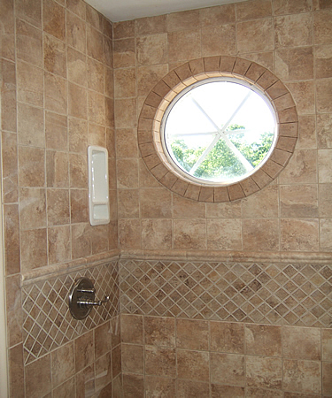 Bathroom Recessed Soap Ful Shower Tiled Round Window