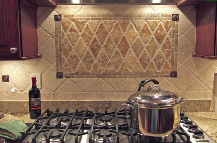 Kitchen Tiled Back Splash. Tile Design Layout