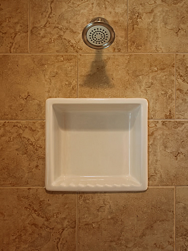 tile shower shampoo dish