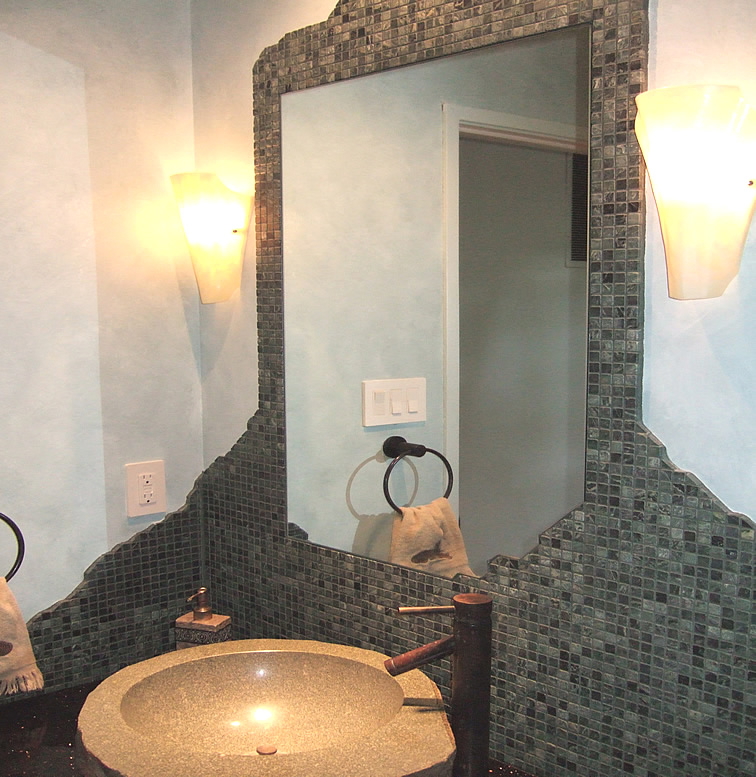 Bathroom Mirror Inset Into Tiles